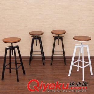椅子 欧式复古做旧实木铁艺餐桌椅饭店酒吧套装咖啡桌椅电脑桌厂家