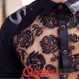短袖衬衫 夏季新款男装玫瑰花镂空中袖衬衣发型师男士