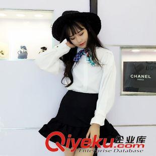 第一期 8001韩国原单女式秋款首发韩范可拆卸丝巾 灯笼袖较厚衬衫两件