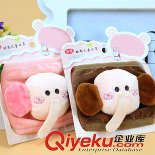 口罩 新款儿童口罩 刺绣卡通口罩 大象造型毛绒防风口罩 义乌批发