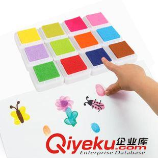正方形彩色印台印章泥幼儿园儿童手指画颜料手工材料