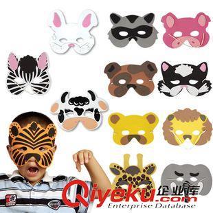 手工粘贴素材 儿童玩具 森林动物面具 组合装 摄影道具 卡通 12个(图)