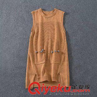 连衣裙 2015秋冬新款修身背心针织衫 中长款女式无袖针织裙韩式厂家