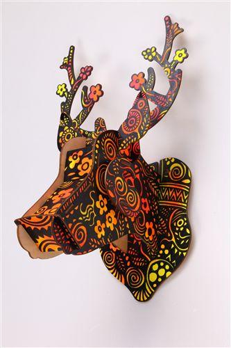 木质工艺品 3d拼图木质玩具亲子益智玩具 木制立体拼图 鹿头装饰木质