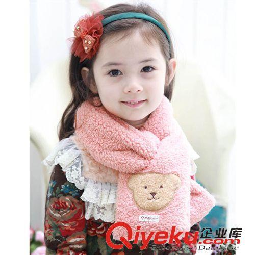 儿童帽子围巾 新品冬季保暖宝宝围巾 儿童手工小熊双层毛绒保暖围巾