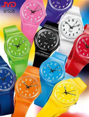 新款卡通儿童手表 swatch 款式pvc广告手表 礼品促销低价表 全球流行