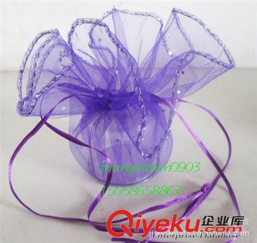纱质糖果包装 紫色亮点圆形纱袋 礼品包装袋 布类包装