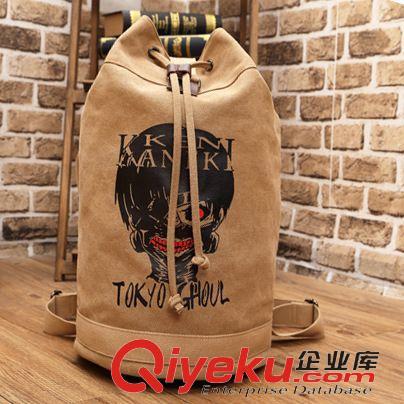 金木研束口袋书包双肩背包动漫帆布休闲背囊圆桶包