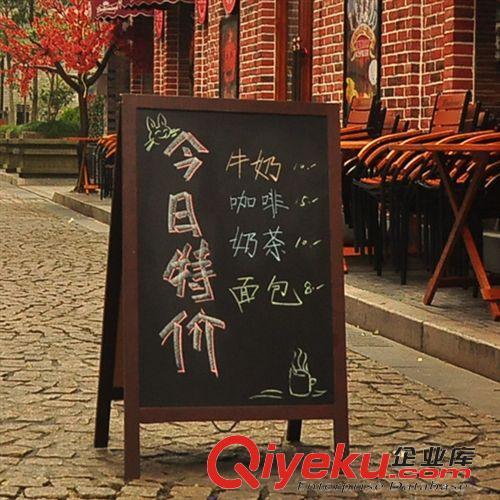 黑板展示板画板 双面 展示黑板木制 咖啡店面 欢迎光临 广告告示 a款