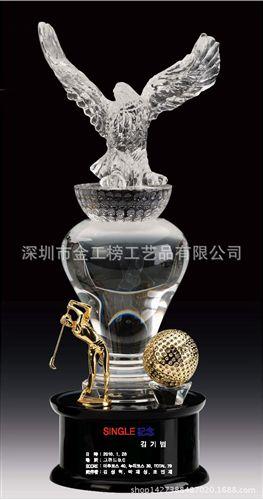 韩版创意高尔夫花瓶柱老鹰奖水晶奖杯 新款创意 厂家原创图片