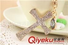 钥匙扣系列 流行宗教十字架与宝石钥匙扣 水晶宗教系列首饰直销混批