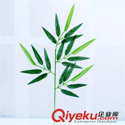 树枝系列 厂家直销绢布仿真竹叶小叉假树叶饰品塑料植物装饰品竹叶(图