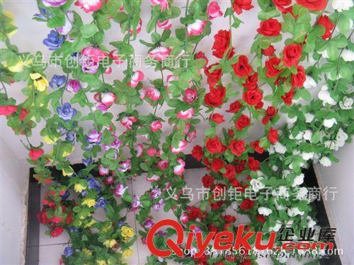 假花藤条塑料花玫瑰花