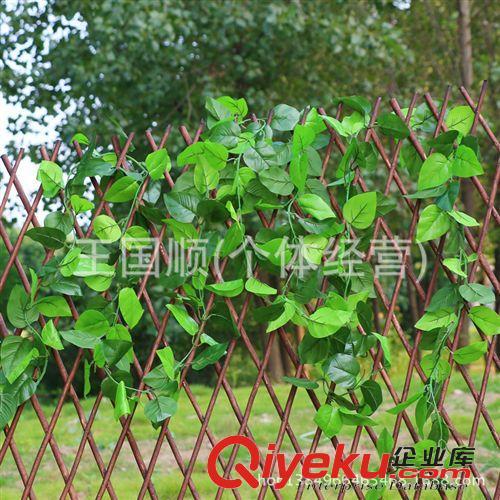 栅栏 仿真植物 绿叶藤条围栏 装饰假树叶可伸缩木栅栏 批发