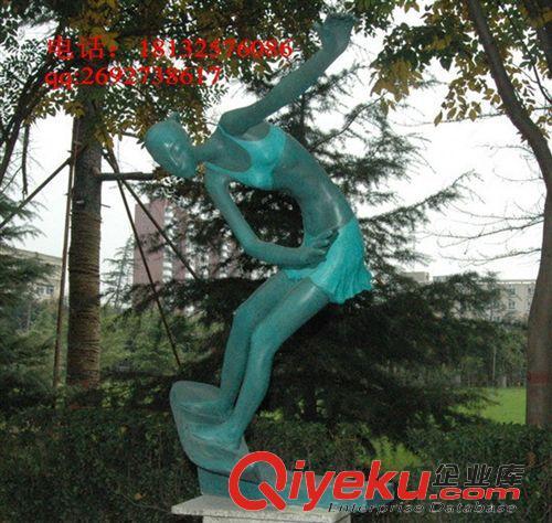 艺林城市园林景观雕塑 公园小品雕塑 运动人物雕塑 海边冲浪女孩雕塑