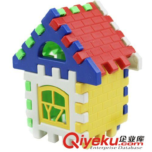 儿童玩具 特价儿童益智早教拼插塑料拼图积木袋装拼房子 宝宝动手拼装