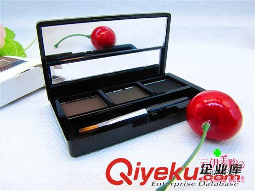 化妆品 彩妆三色眉粉 易上色持久自然  十元店货源 义乌批发   可挂版