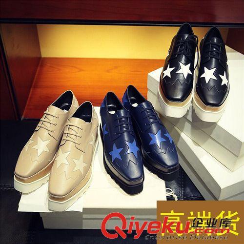 【--乐福鞋-- 星星鞋厚底鞋真皮松糕方头系带欧