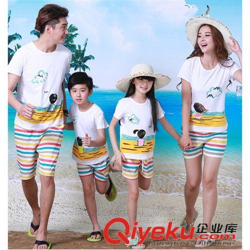 情侣装,亲子装 新款夏季纯棉时尚休闲沙滩卡通拖鞋背影漫画一家四口