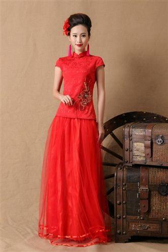 新款新娘结婚礼旗袍裙 时尚红色长款敬酒晚礼服原图 中国风--婚纱