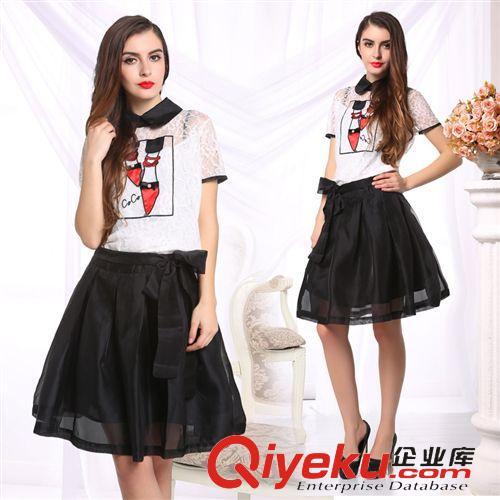 3月新款 欧洲站女装欧美夏装新款娃娃领短袖欧根纱短裙连衣裙两件套