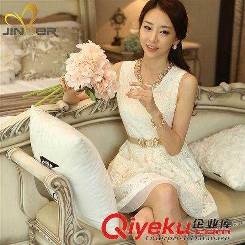 连衣裙 韩国东大门女装欧根沙蕾丝拼色修身超显瘦无袖连衣裙 背心裙