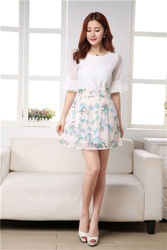 连衣裙 韩国东大门新款女装韩版两件套印花雪纺连衣裙半裙加上衣