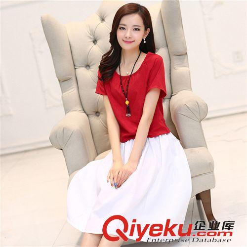 连衣裙 复古风连衣裙夏季女装新款两件套短袖棉麻小衫长裙