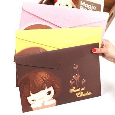 韩版文具 可爱卡通饼干女孩a4文件袋 纸质卡通文具资料袋批发转发分享