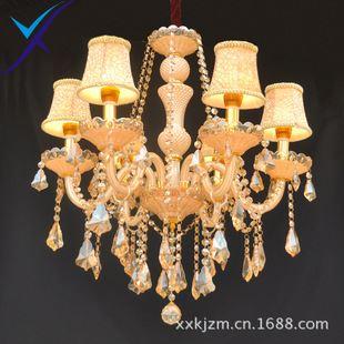 水晶灯蜡烛吊灯现代简约吊灯欧式别墅灯复试客厅吊灯