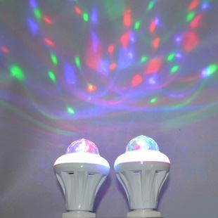 led光源 led七彩魔幻球泡旋转舞台歌厅小夜灯ktv七彩5w e27变幻灯泡批