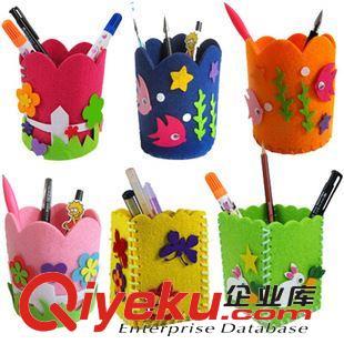 儿童手工布艺笔筒立体diy玩具幼儿园宝宝创意粘贴制作不织布笔筒(图)