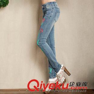 2014秋装新款手绘牛仔裤女士显瘦小脚裤长