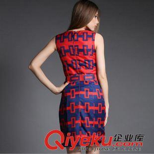 欧美高端女装 夏装新款欧美大牌格子背心裙ol气质修身职业连衣裙 最小