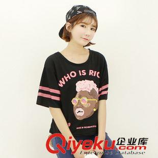 新款女生t恤韩版黑人头像时尚潮流印花