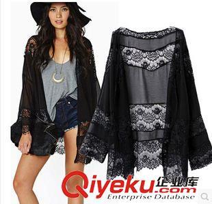 2015夏季新款欧美飘逸黑色雪纺和服蕾丝花边拼接和服