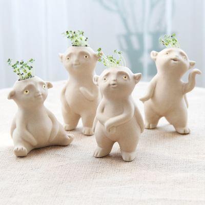 精品陶瓷草娃娃 新款可爱小胡巴草头娃娃 桌面迷你小妖王胡巴盆栽