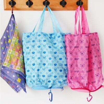 卡通动物拉链可折叠购物袋