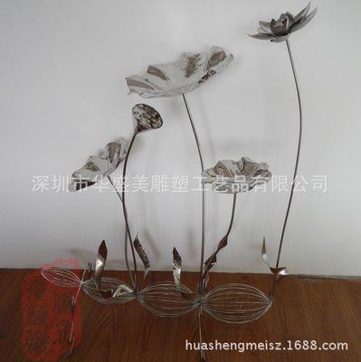金属雕塑工艺术品 华盛美供应纯手工铁艺荷花金属工艺